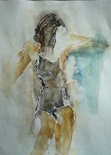 """Angela Fusenig, """"Figur in Schwarz"""" Mit einem Klick auf """"Als Kunstkarte versenden"""" versenden Sie kostenlos dieses Werk Ihren Freunden und Bekannten."""