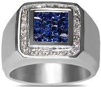 #Jewelry #Ring Diamond Sapphire Pinky Ring in 14k White Gold