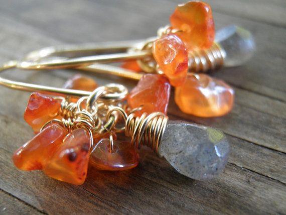 Spring Dangle Earrings Tangerine Smoke Earrings, Deep Orange Carnelians Cluster With Grey Labradorite Teardrop Briolette, 14k Goldfilled