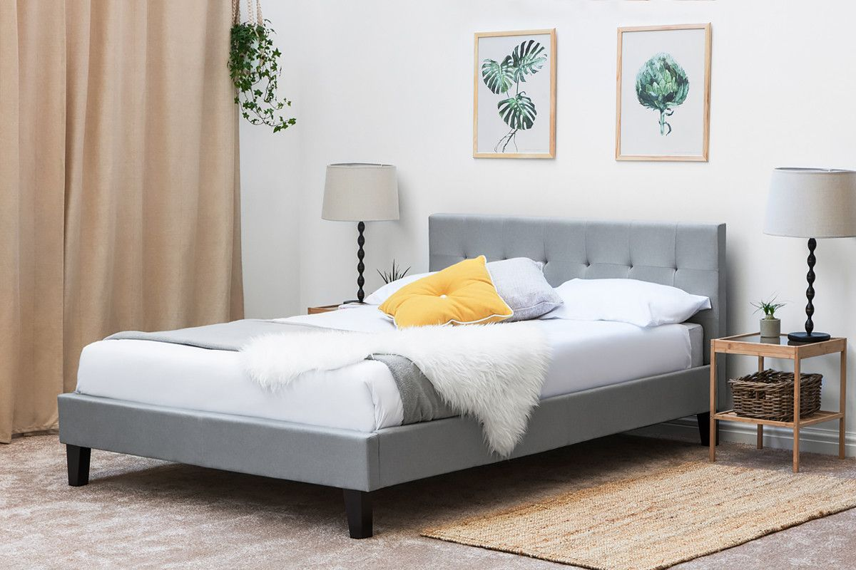 Blenheim Grey Fabric Low Headboard Bed Frame Single Double