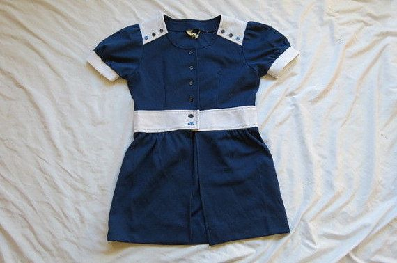 Miss Holly Mod 60's Vintage Navy Blue and White by AdoredAnew