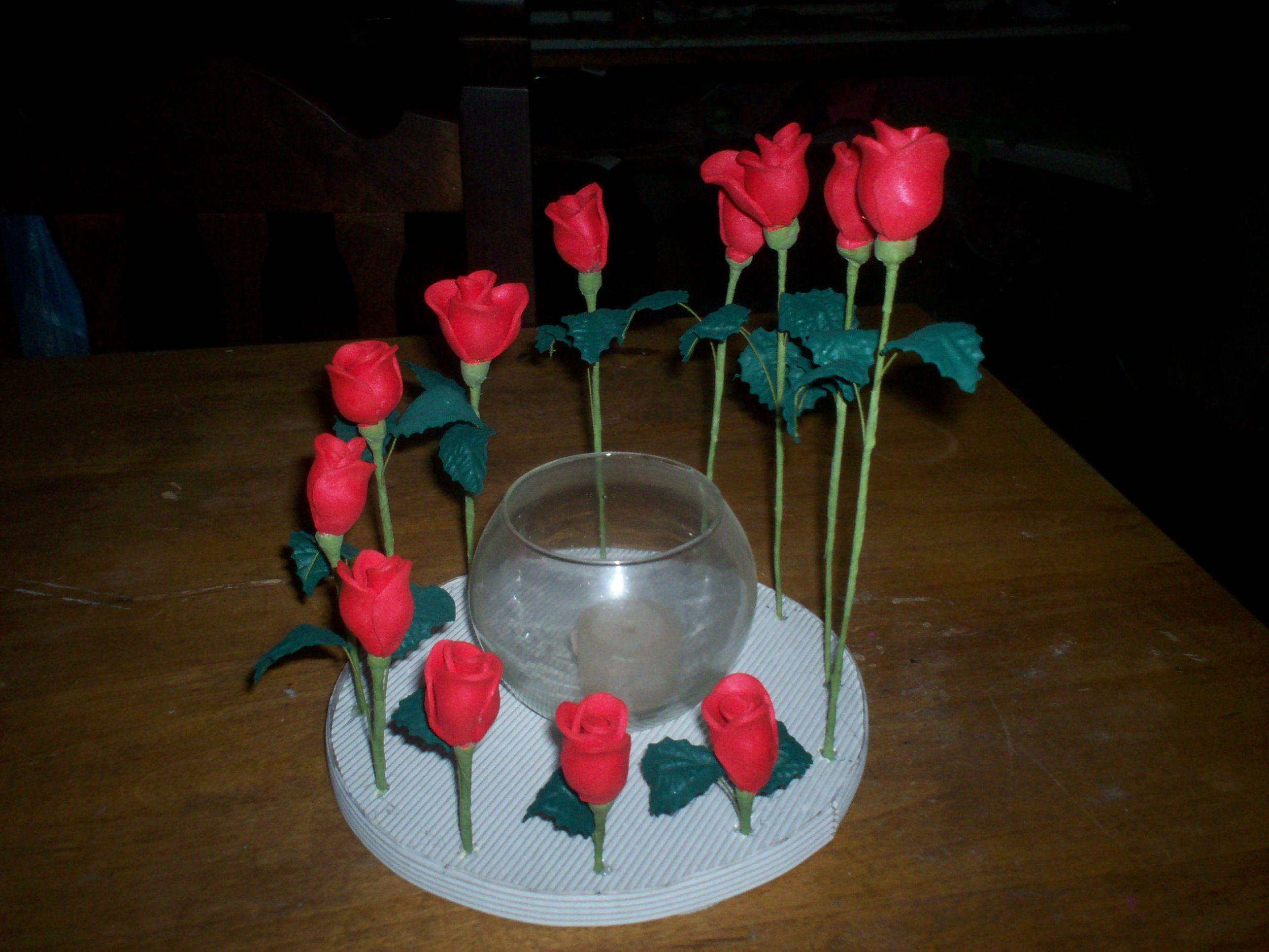 Centro de mesa con globo para colocar una velita - Centros de mesa con flores ...