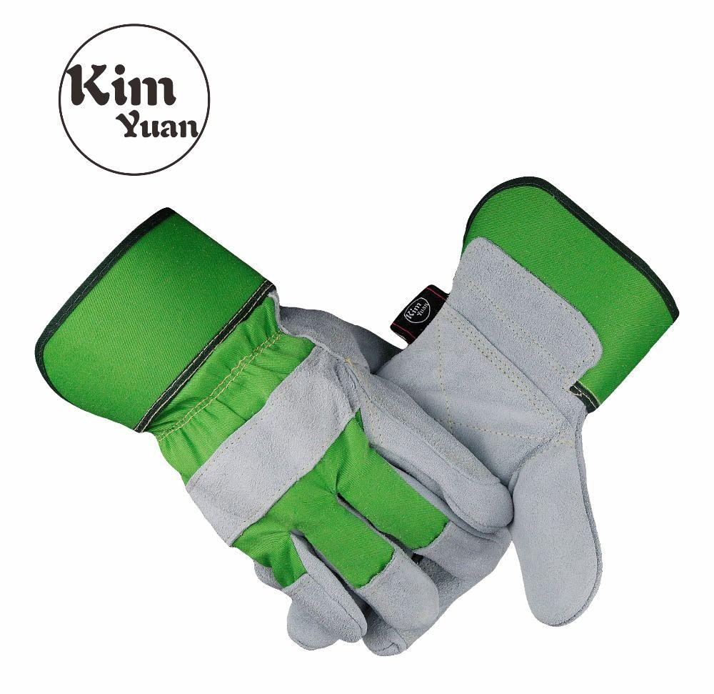 KIM YUAN 019 Green Garden Leather Work Gloves, Anti