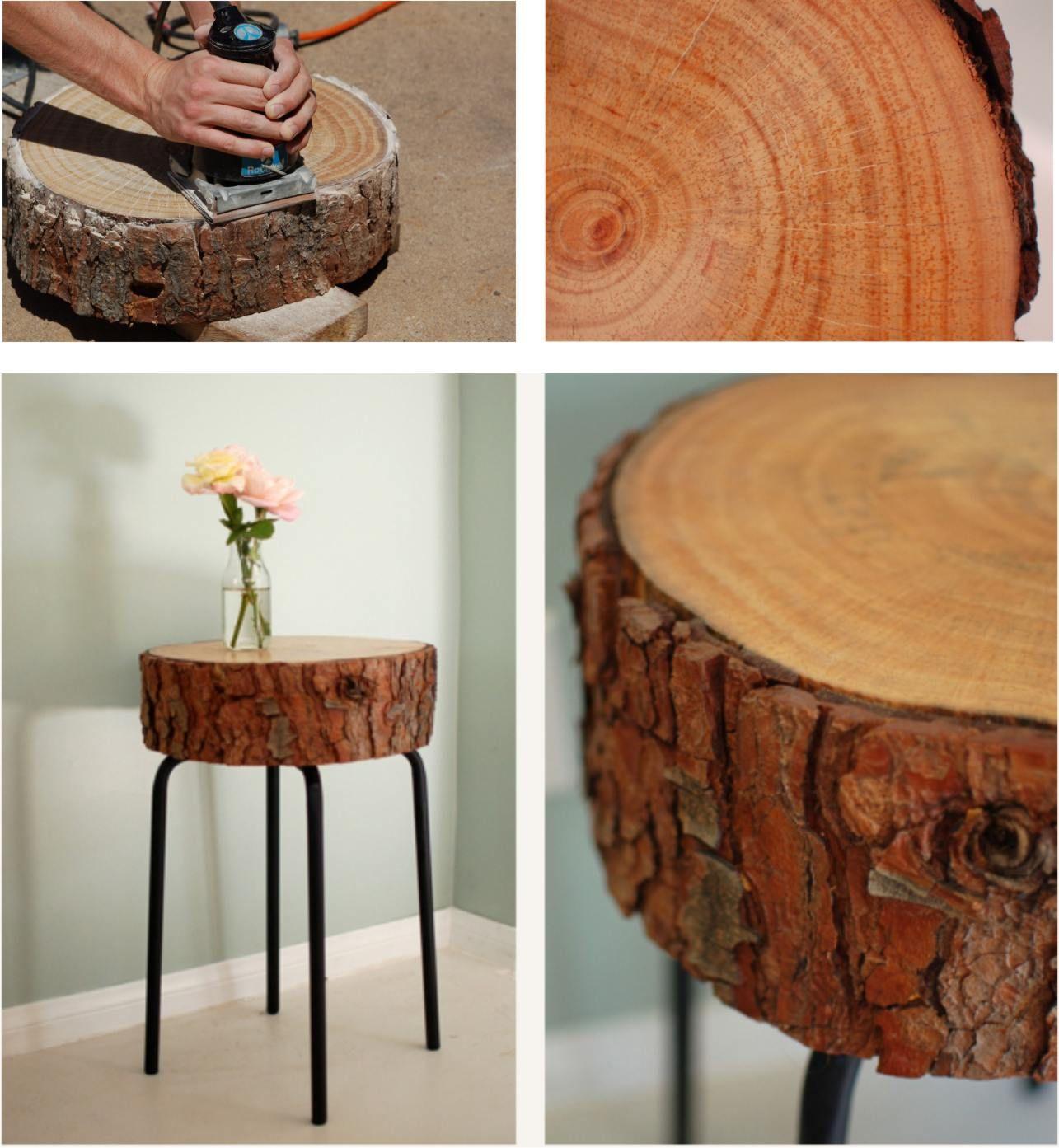 Mesita con un tronco y un taburete de ikea ideas mesas - Reciclar muebles ikea ...