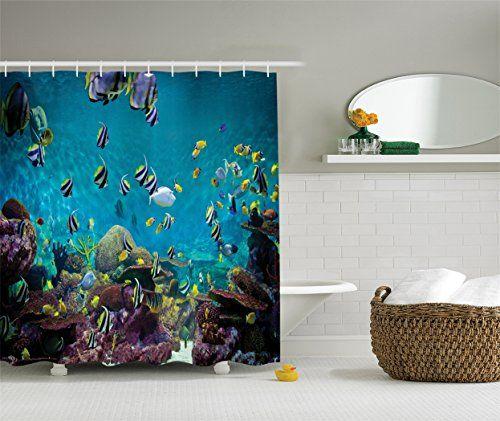 Ambesonne Ocean Decor Collection Untouched Wild Underwater Aquatic