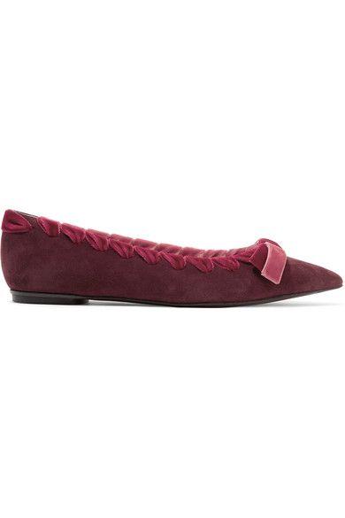 dd0519551cc01 FENDI Velvet-trimmed suede point-toe flats. #fendi #shoes #flats ...