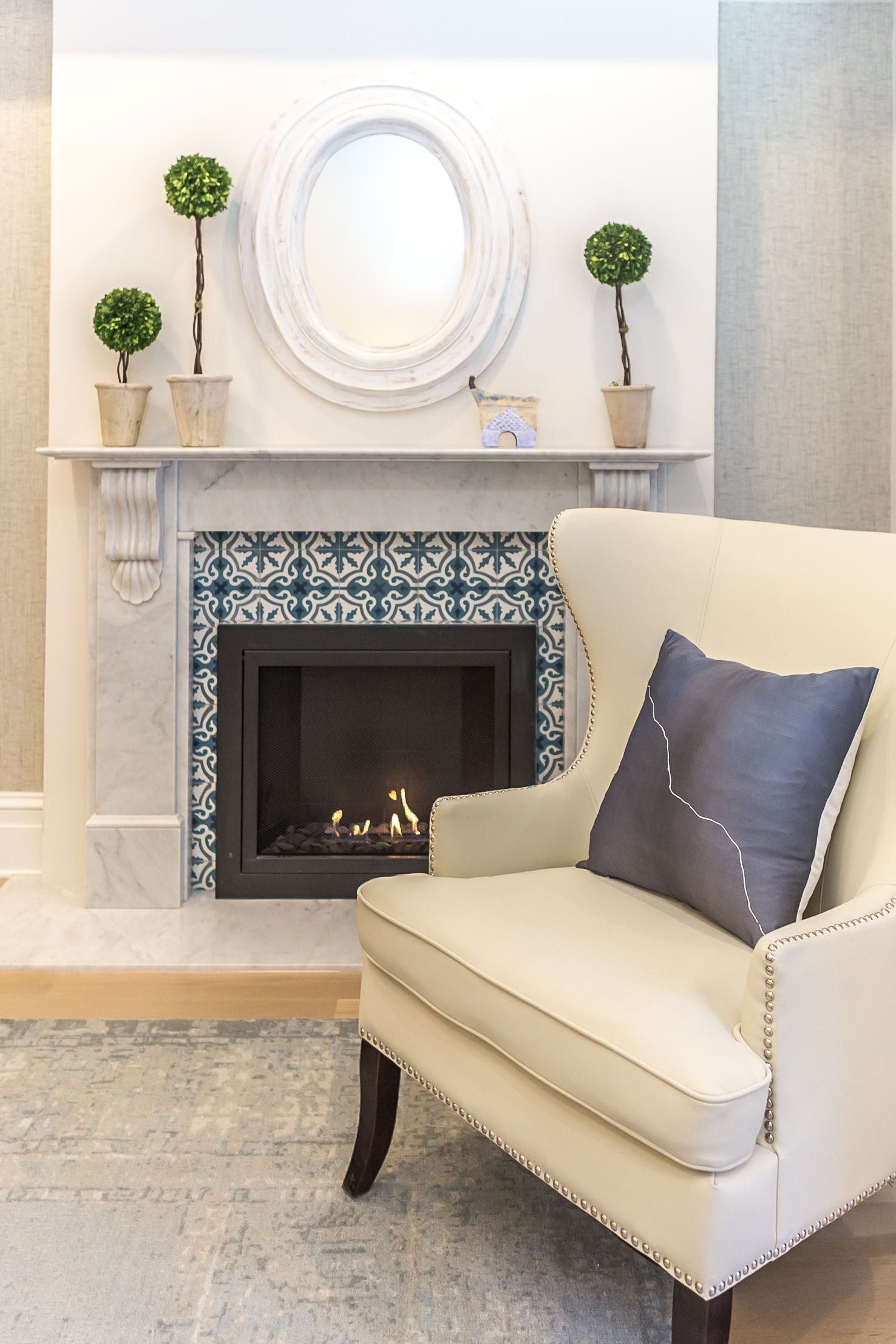 Cosy Fireplace With Blue Mosaic Mantel In A Brownstone Home, Hoboken, New  Jersey Interior Design, Custom Millwork By Marie Burgos Design Photography  By ...