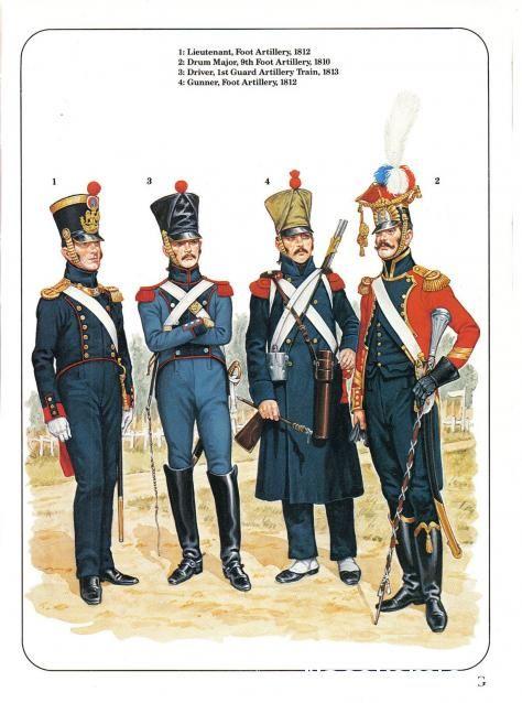 1 Lieutenant Foot Artillery 1812 2 Drum Major 9th Foot Artillery 1810 3 Driver 1st Guard