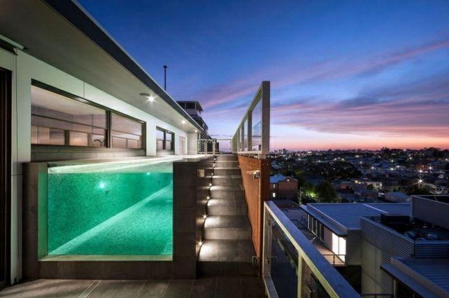 Dach Wohnung Pool Grüne Beleuchtung Glas Wand · NachtbeleuchtungBalkon  GestaltenErfrischungZeitraumSchwimmbeckenPflegeHaus Bauen IntegriertErfolgreich