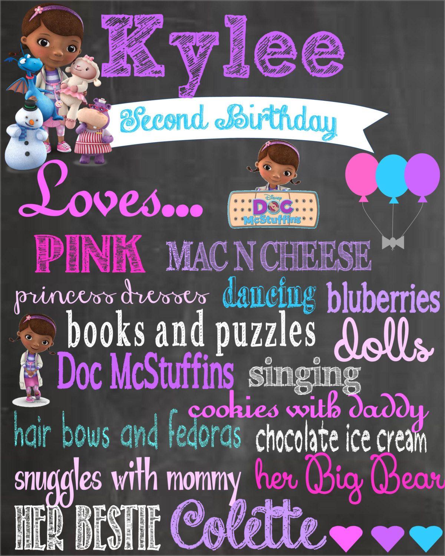 Doc Mcstuffin Birthday Chalkboard Poster Doc Mcstuffins Birthday