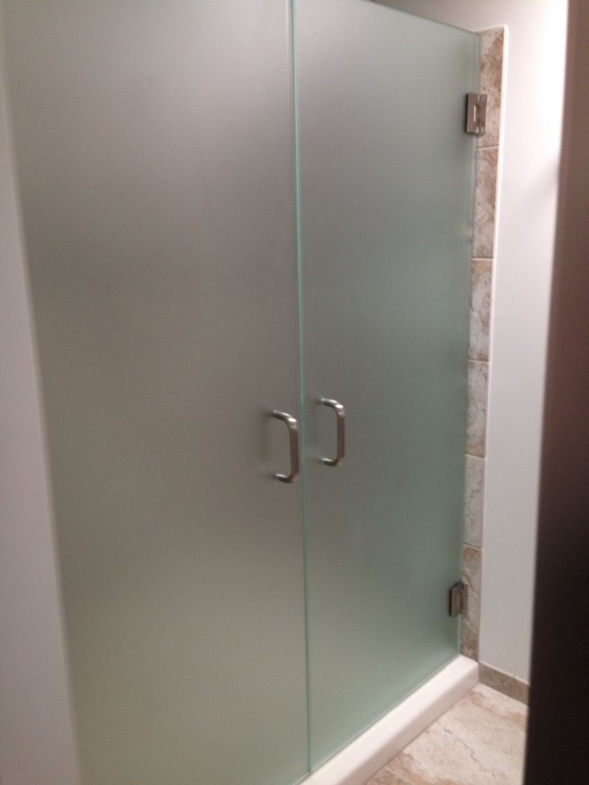 3 8 Quot Frameless French Shower Doors Frosted Glass