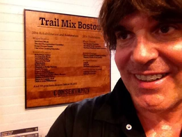 James with the donor sign at Trail Mix Boston