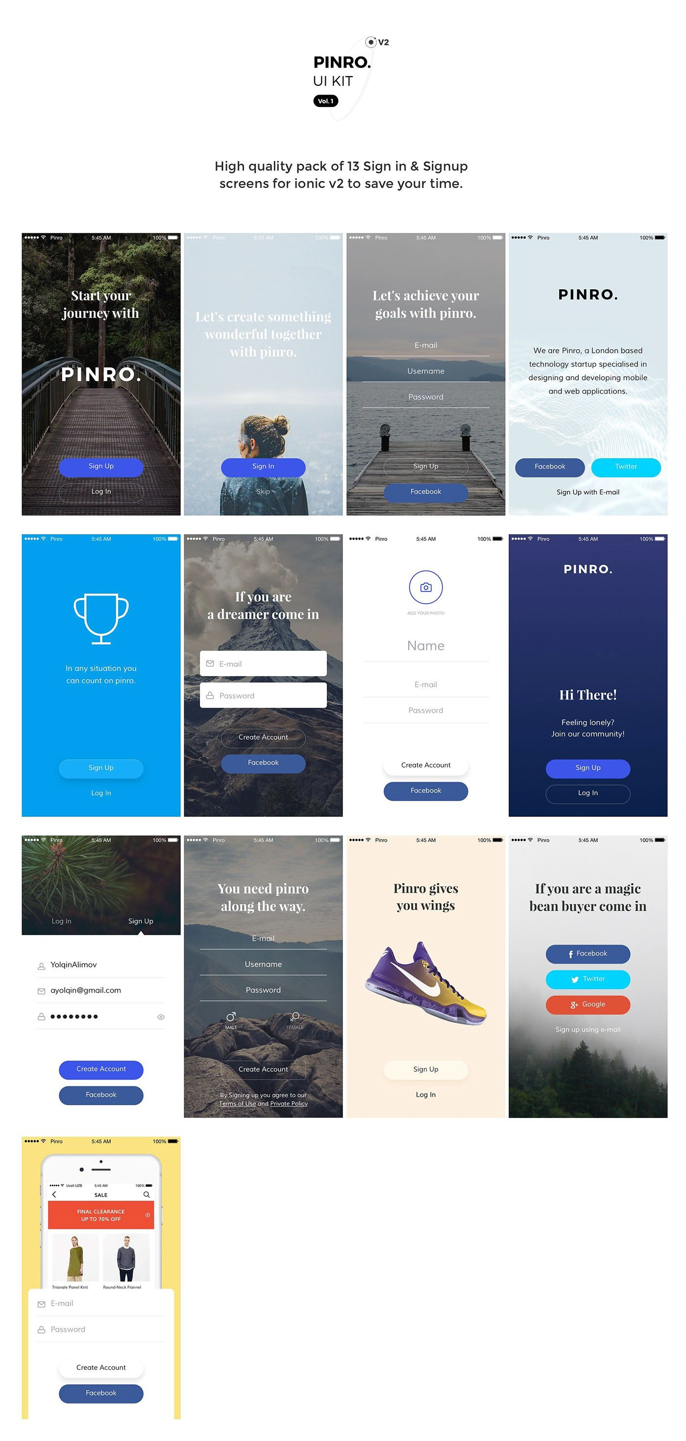 Auth UI Kit - Ionic 2 Theme FREE DOWNLOAD! on Behance