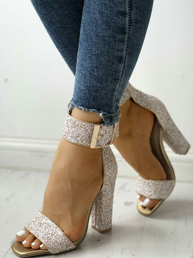 f7dd4c990dc8 Stylish Sequin Open Toe Chunky Heeled Sandals  Stylish  Sequin  Chunky   Heeled  Sandals