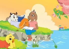 Cartoon Animals Reading Book