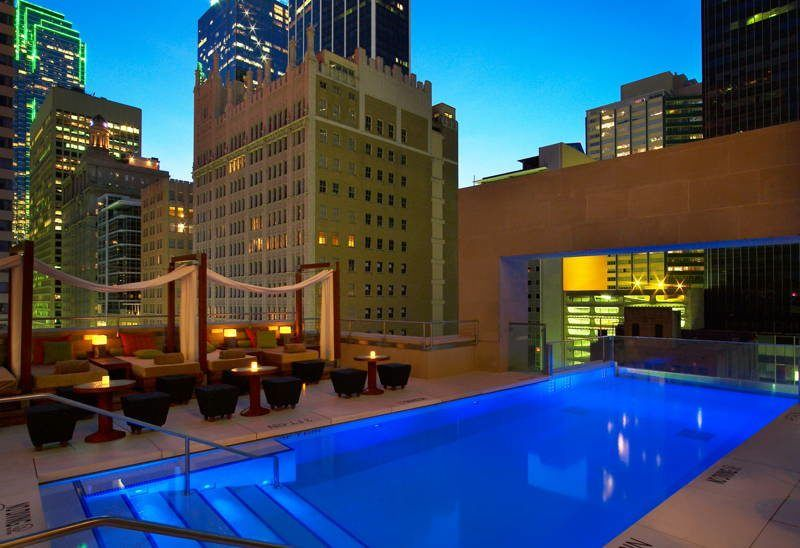 Hanging eight feet over the edge of the Hotel Joule in Texas, this cantilevered pool looks equal equal parts spectacular and precarious and lets swimmers relax in a rooftop breeze on a hot summer days.