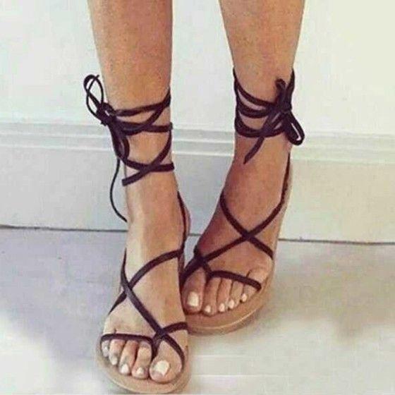 Croix Sangle Femme Bout Sandales Plat Noir Rond Lacets Cheville Mode uFJK1c3lT