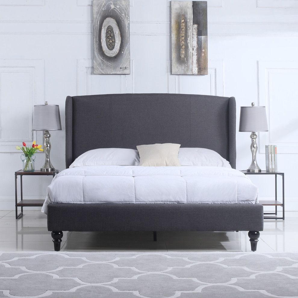Deluxe Linen Platform Bed Frame With Shelter Headboard Gray