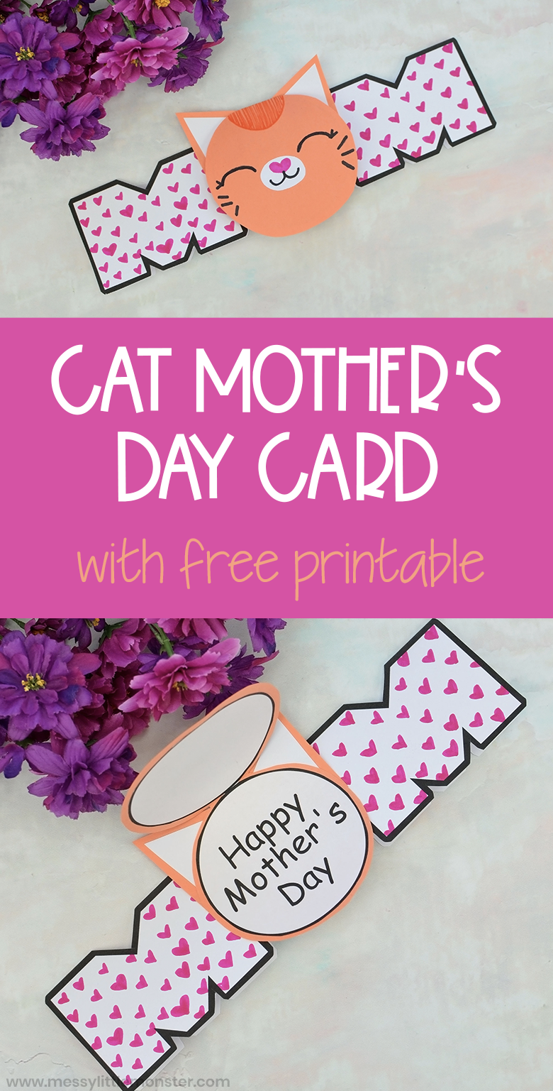 cat printable mother's day card craft with images