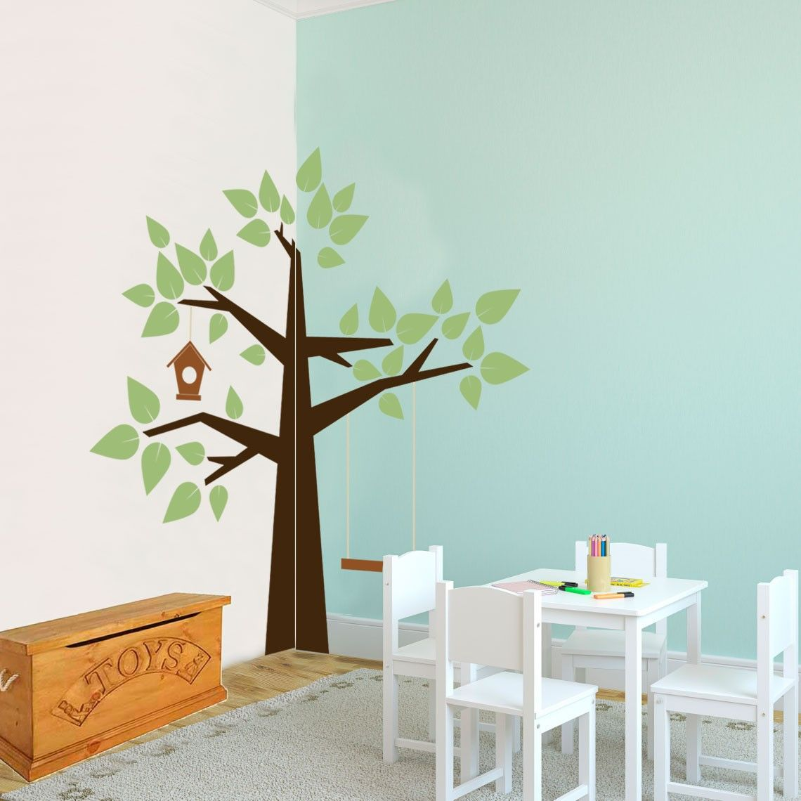 Whimsical corner tree nature vinyl wall art decal for for Accent tree for corner of house