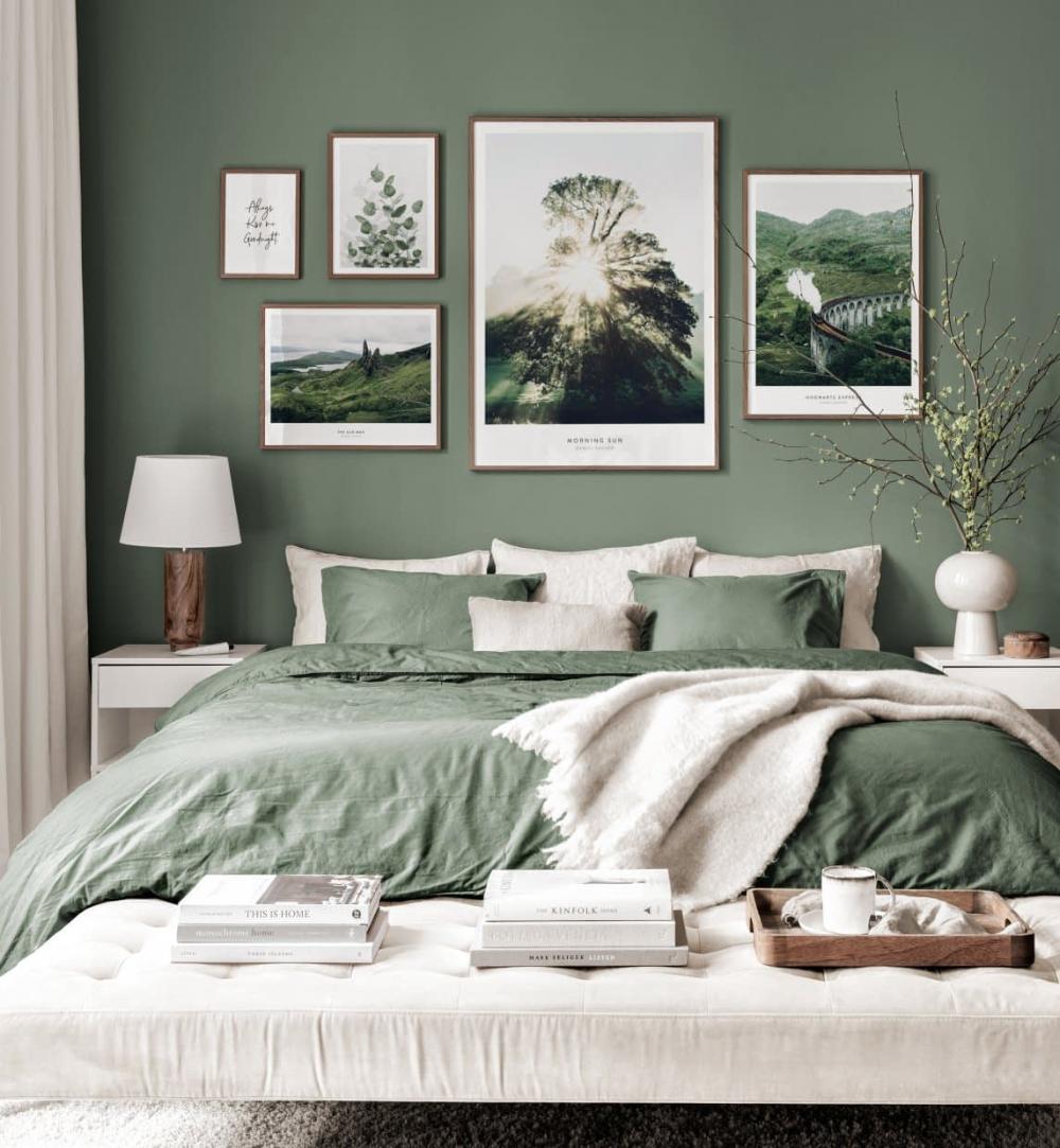 scottish gallery wall nature posters green interior walnut