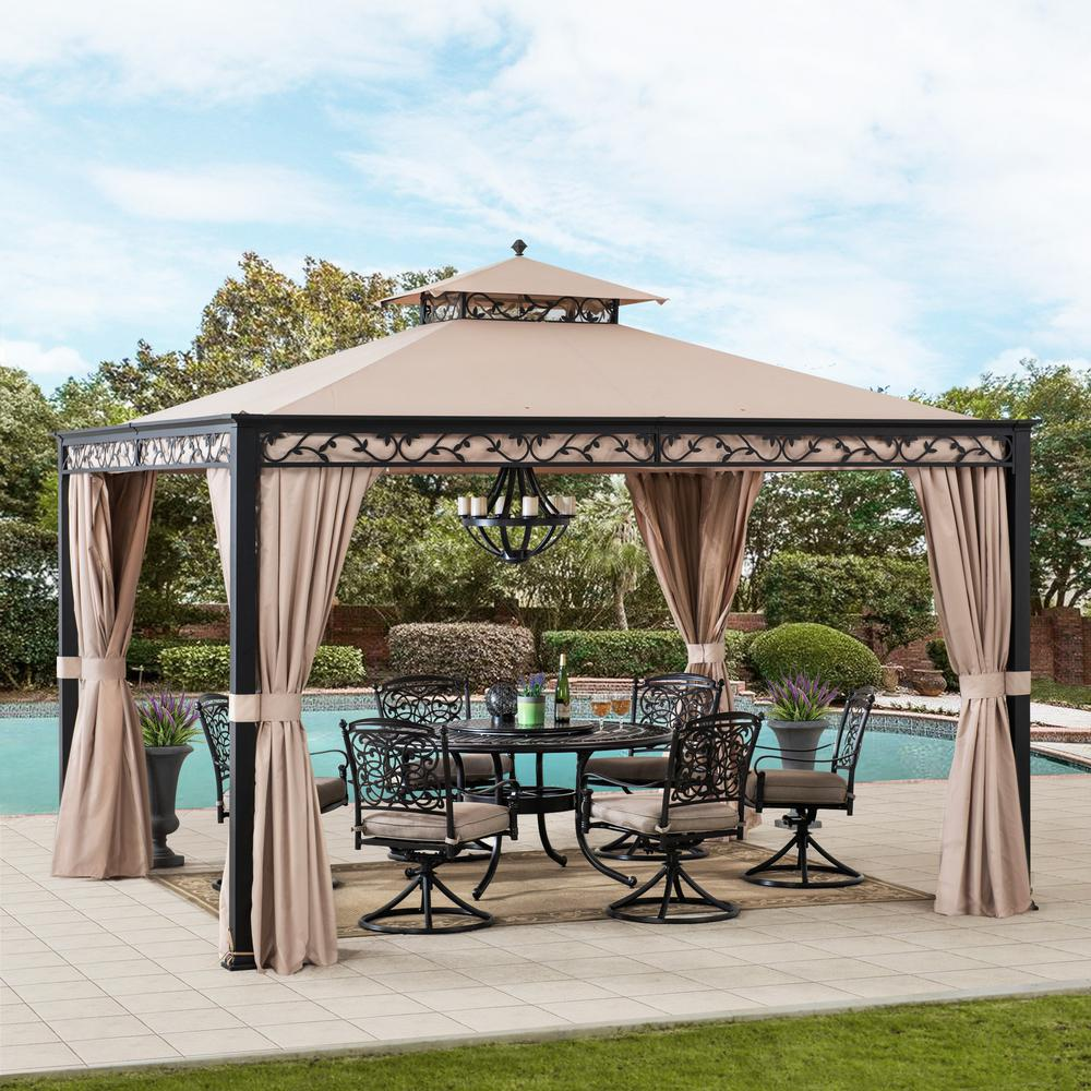 Sunjoy Bradley 10 Ft X 12 Ft Steel Gazebo With Mosquito Netting And Curtain A101003202 The Home Depot In 2020 Steel Gazebo Gazebo Patio Gazebo