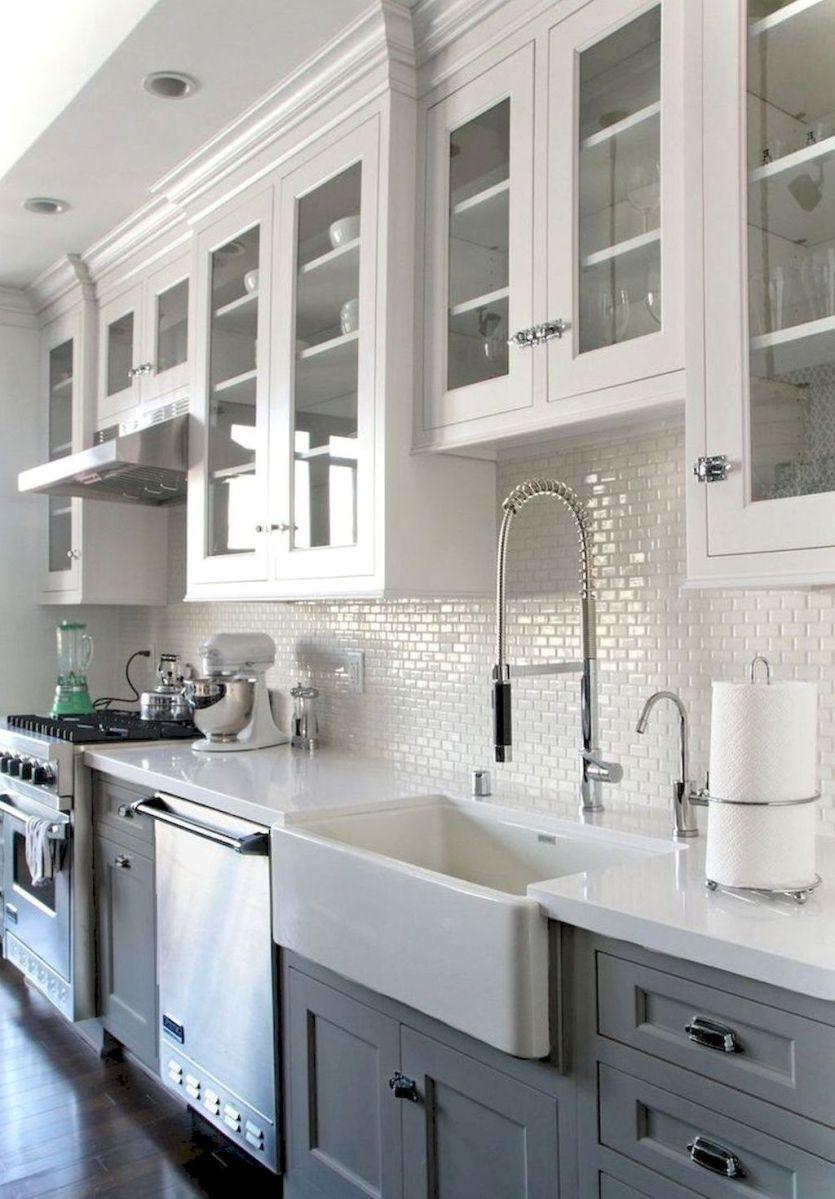 60 Incredible Farmhouse Gray Kitchen Cabinet Design Ideas | Grey ...
