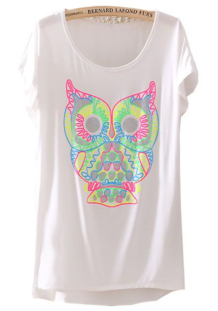 DIY INSPIRATIONAL IMAGE: Recreate with fabric markers or fabric paint! ~ Owl Print T-Shirt