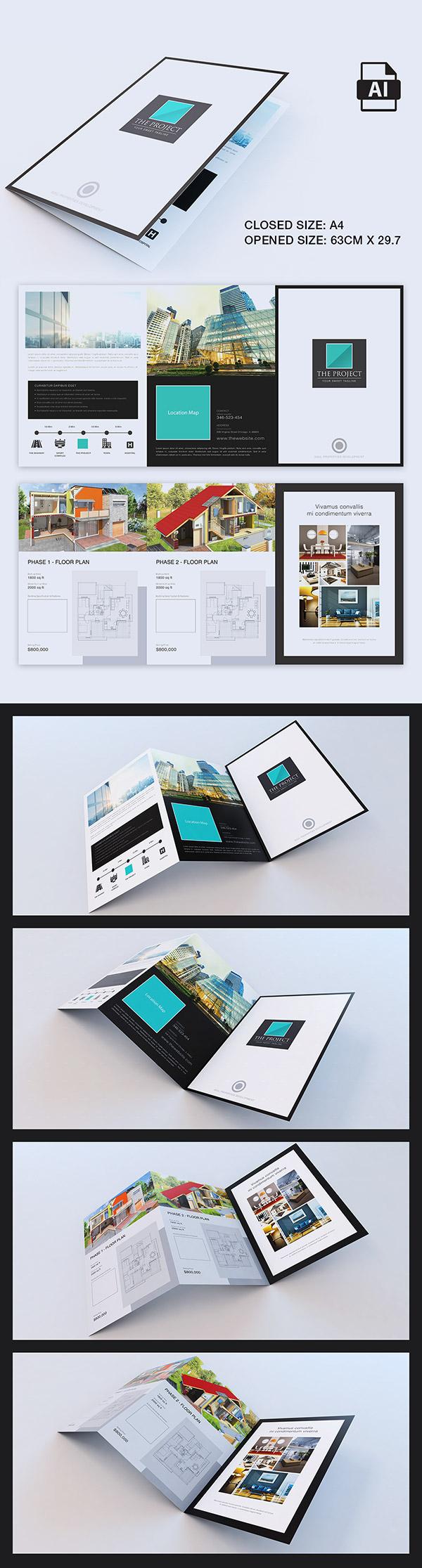 Elegant Large Trifold Property Brochure  Brochure Template