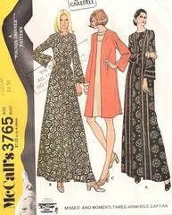 1970's McCall's 3765 Three Armhole Caftan Pattern Bust 34-36