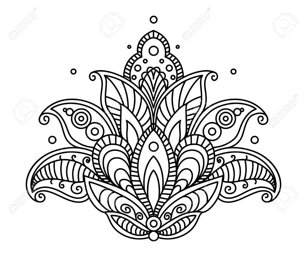 Pretty Ornate Paisley Flower Design Element In A Dainty Black Royalty Free Cliparts Vectors And Stoc Mandala Coloring Pages Mandala Coloring Coloring Pages