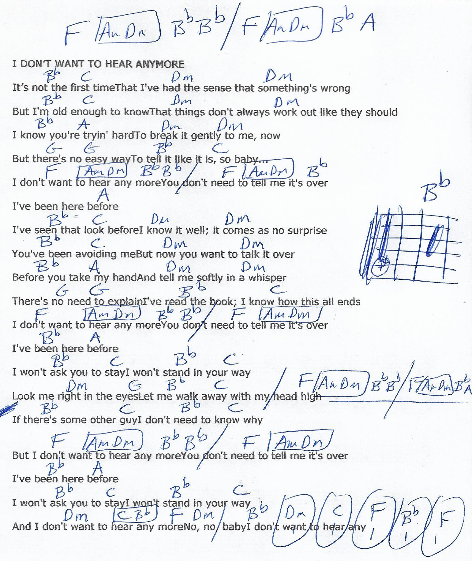 I Don't Wanna Hear Anymore Eagles Guitar Chord Chart   Guitar ...