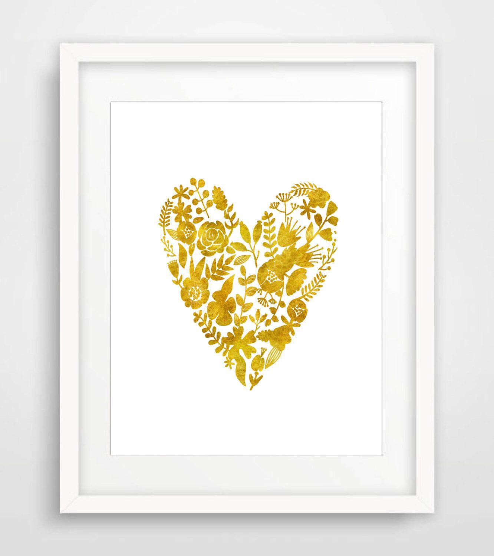 Gold Wall Art Gold Heart Print Printable Art Gold Floral Heart Print Floral Art