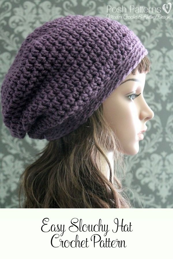 Crochet PATTERN - Slouchy Hat Pattern - Crochet Patterns for Women ...