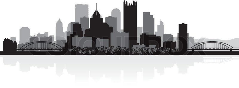 Pittsburgh Skyline Outline - coloring365.com
