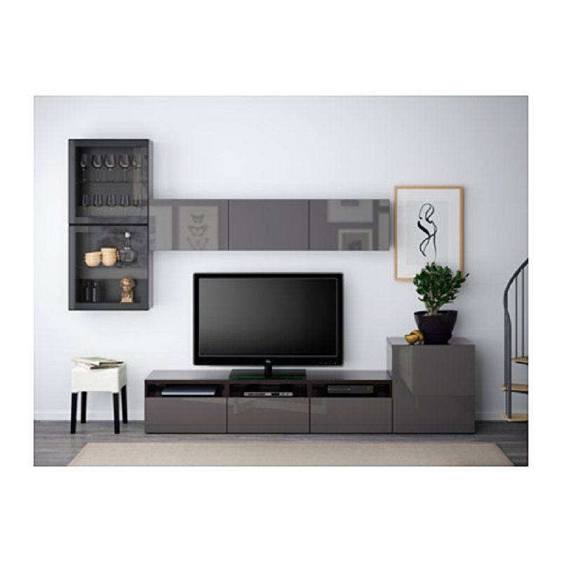living room sets with tv rooms sofas ikea besta series storage combination of glass doors hanviken selsviken high gloss or gray clear