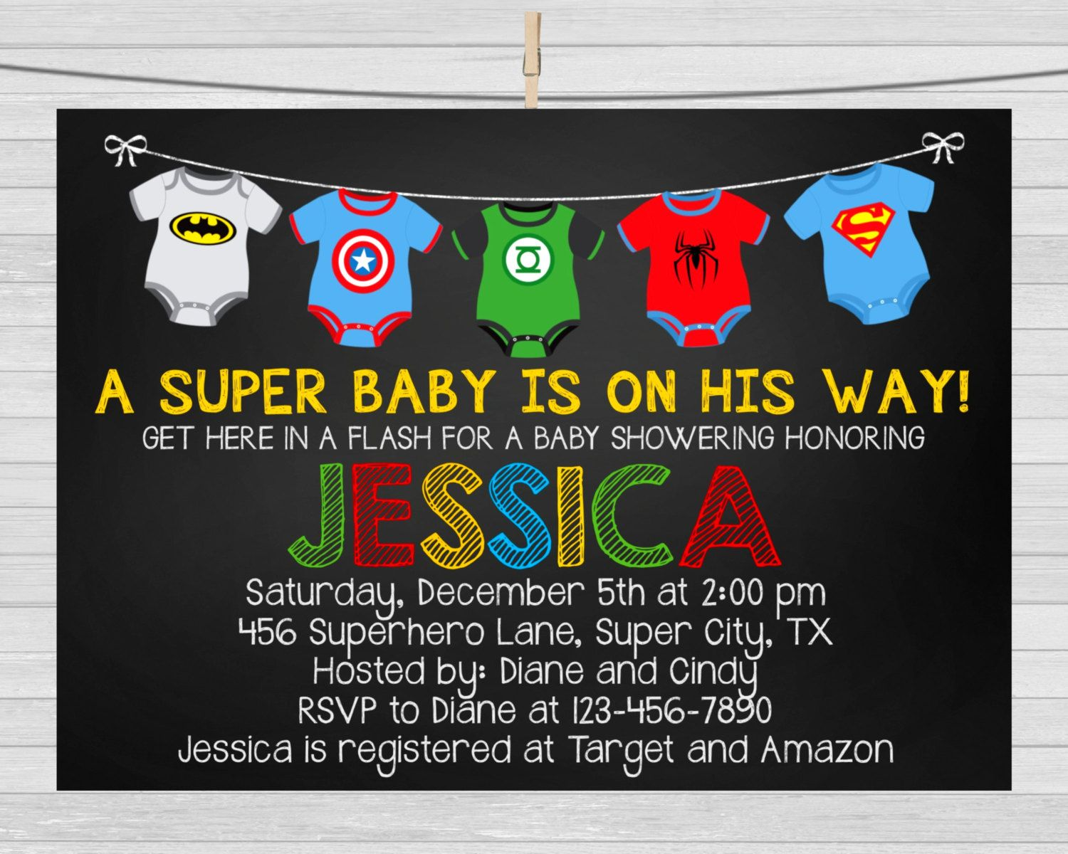 SUPERHERO BABY SHOWER Invitation Superhero by maoPartyPrintables ...
