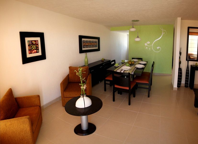 Sala comedor verde y blanco comedor a colores for Decoracion de casas minimalistas fotos