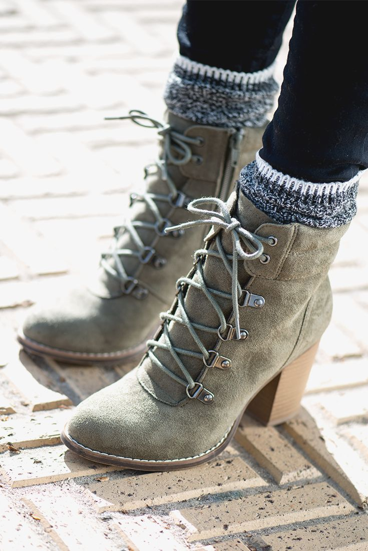 64537500bac We love the northwoods-meets-downtown look of these Candie s lace-up ankle  boots. Done in a supersoft faux suede