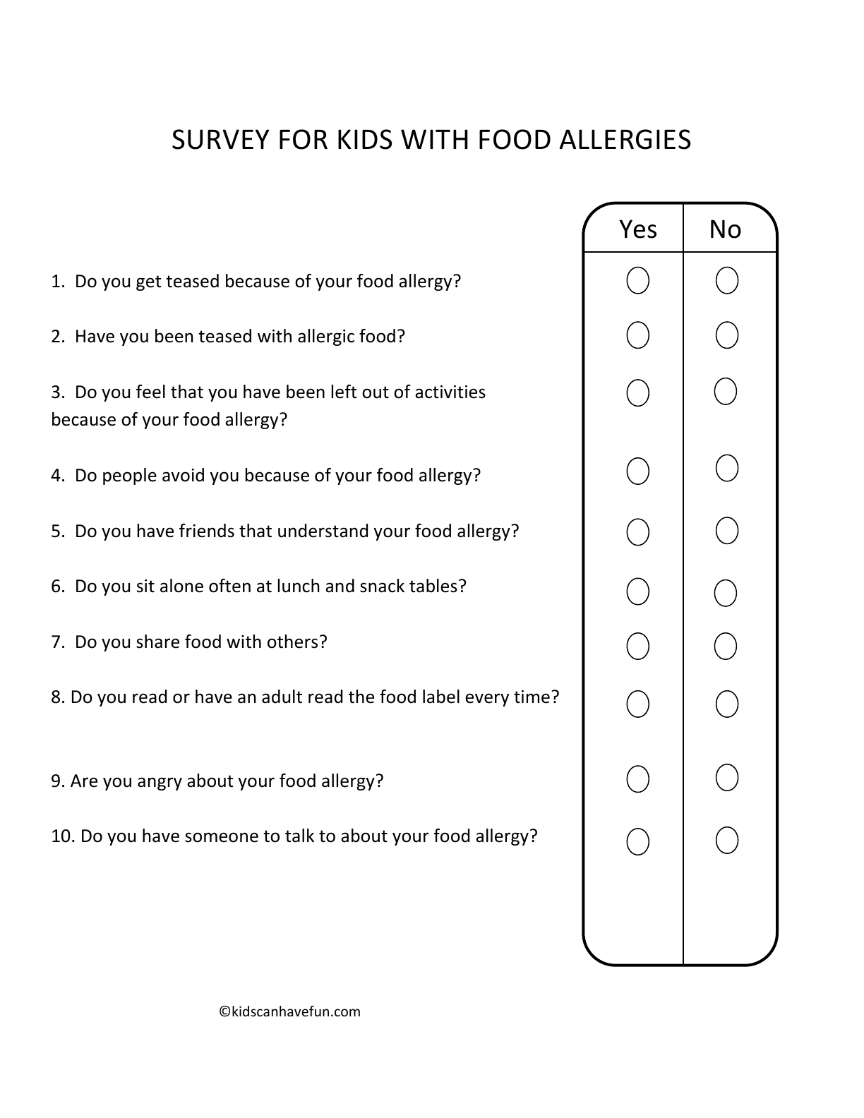Bully Survey For Kids With Food Allergies