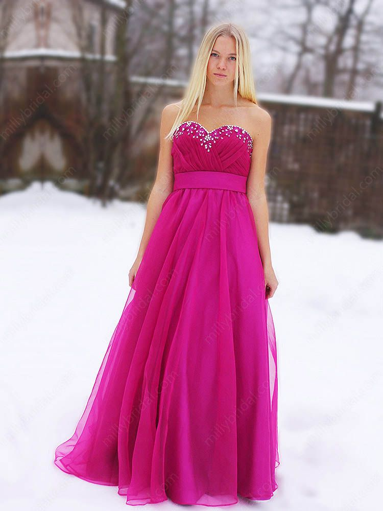 A-line Sweetheart Organza Satin Floor-length Fuchsia Sequins Prom ...