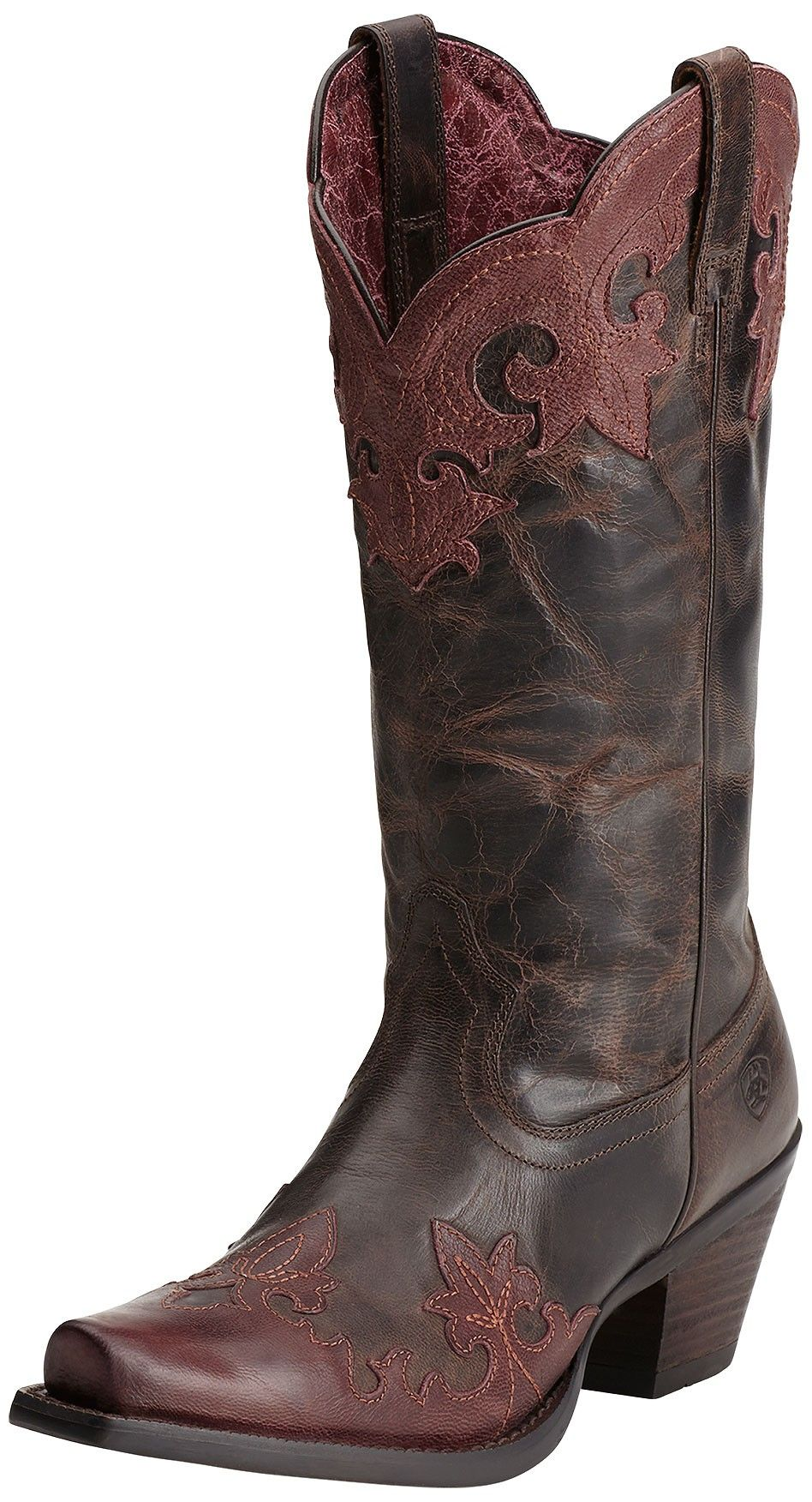 Delphine Wingtip Women's Brown and Red Boots by Ariat Boots 10014132 Beautifully crafted for durability and style, Delphine brown and red boots feature a