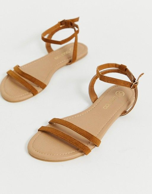 40b2709b8 Boohoo strappy flat sandals with ankle strap in tan in 2019 | Shoes ...