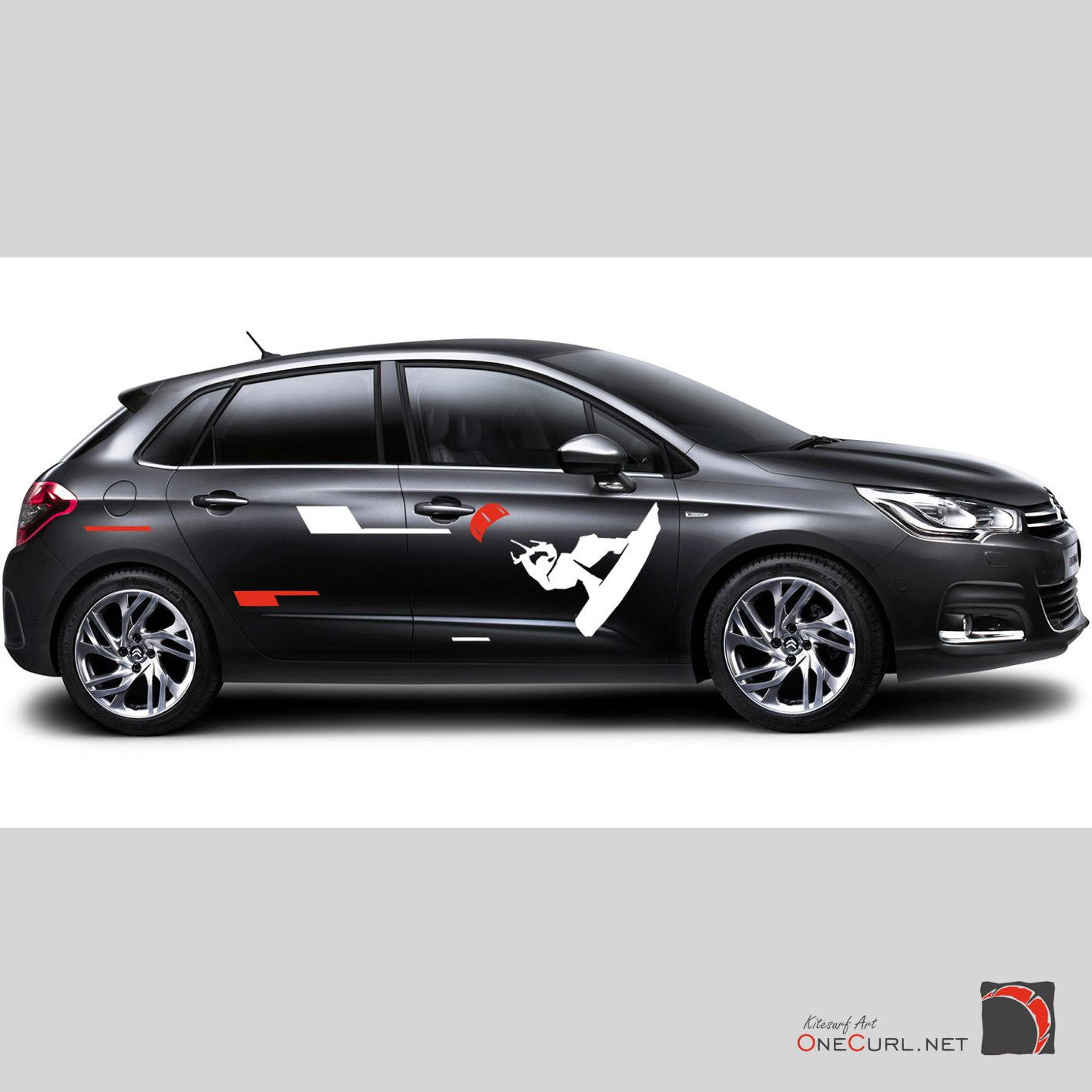 Car sticker design black - Car Stickers Hyderabad Kitesurfing Vinyl Sticker Car Decal Kiteboarding Cool Big Nice
