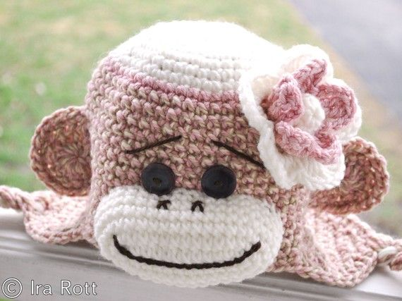 pink sock monkey hat | Handmade Crochet Pink Sock Monkey Hat with Flower for Kids