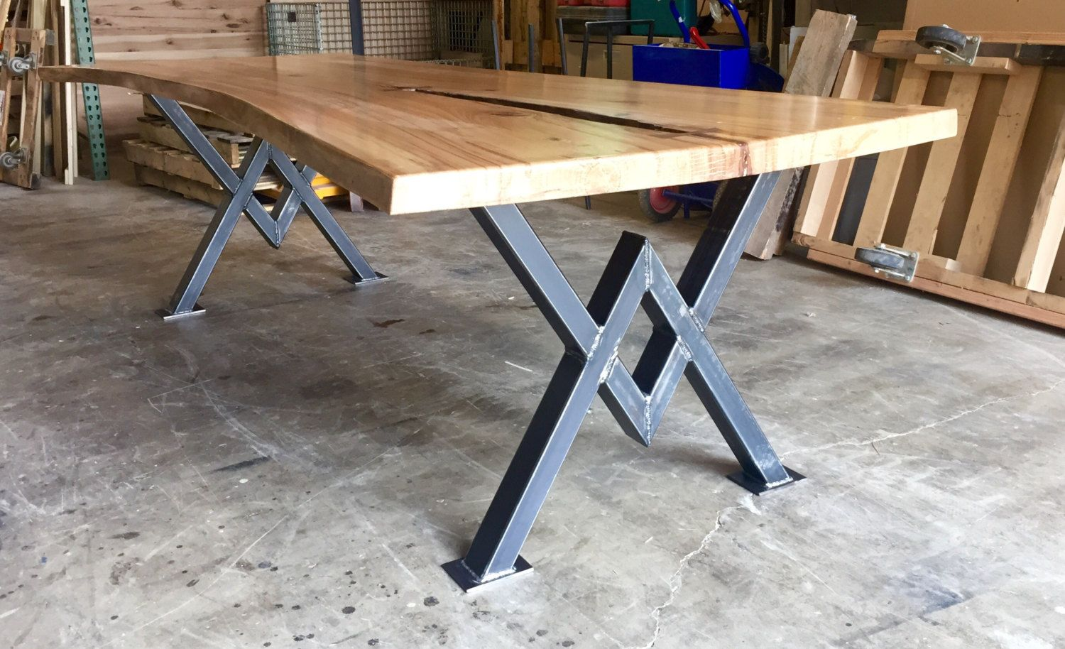 Live Edge Elm Dining Table Beautiful Conference Table Industrial