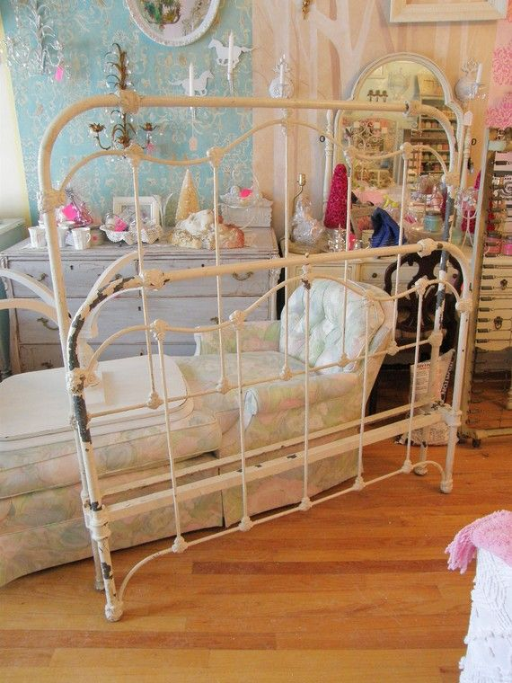 custom order antique iron full shabby chic bed frame stripped and painted white