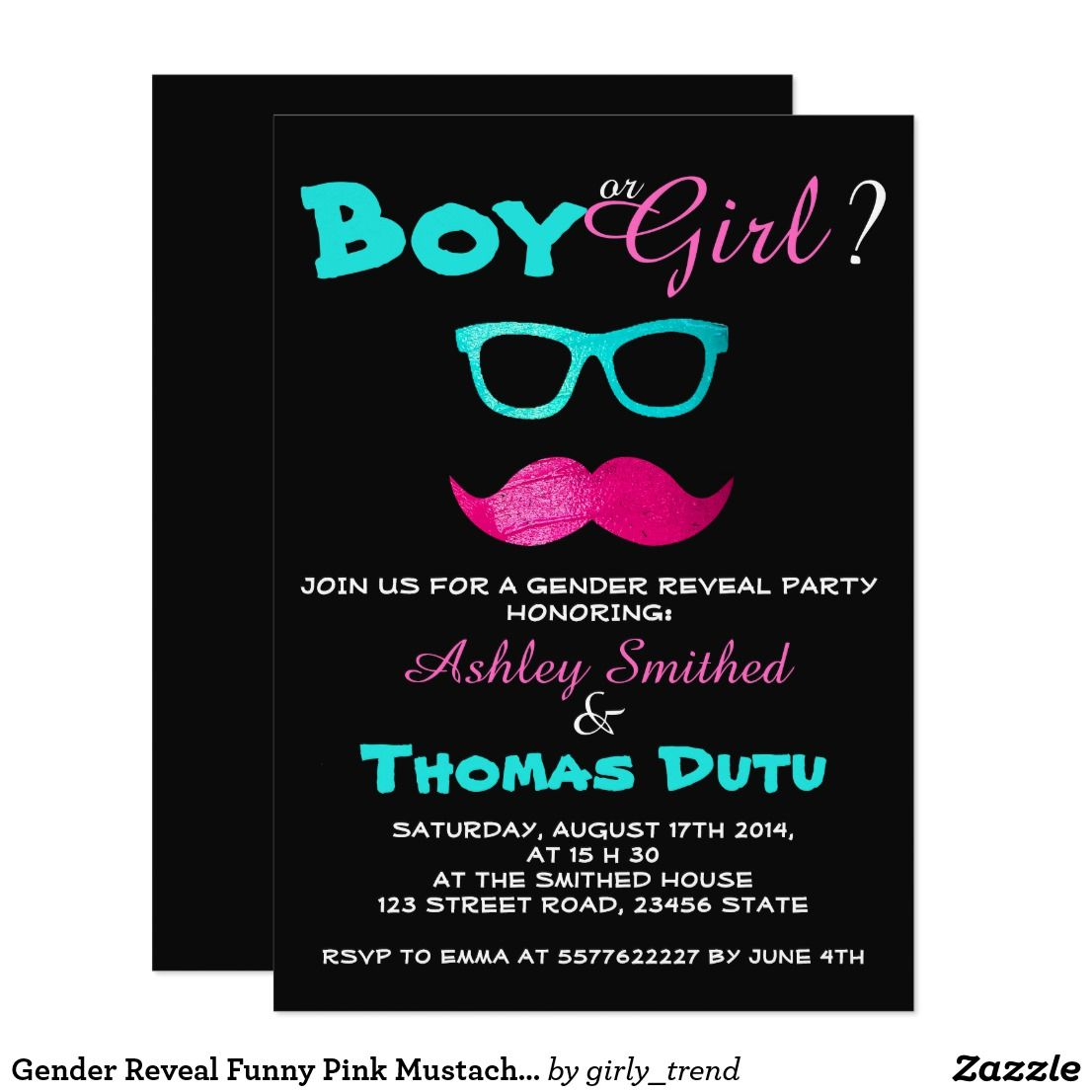 Photo of Gender Reveal Funny Pink Mustache Teal Glasses Invitation | Zazzle.com