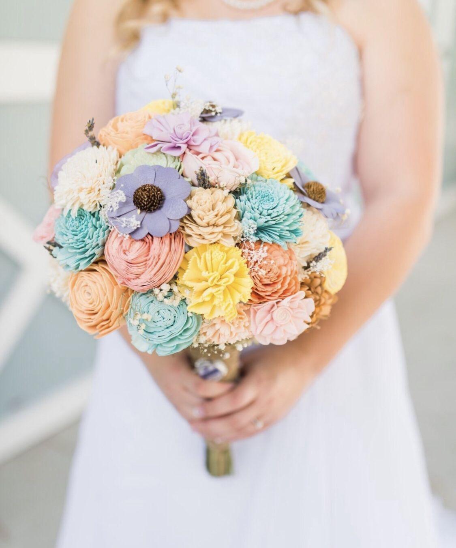 Bouquet kit DIY bride Wood flower bouquet, Sola wood