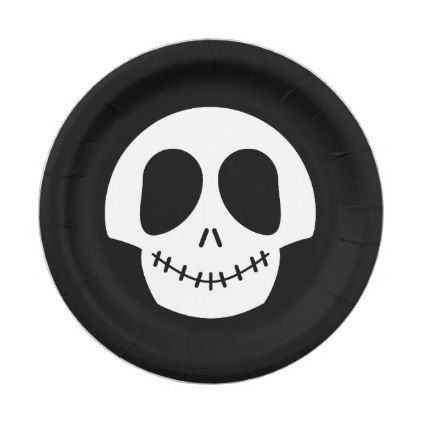 sc 1 st  Pinterest & Halloween Cute Black White Skull Paper Plate